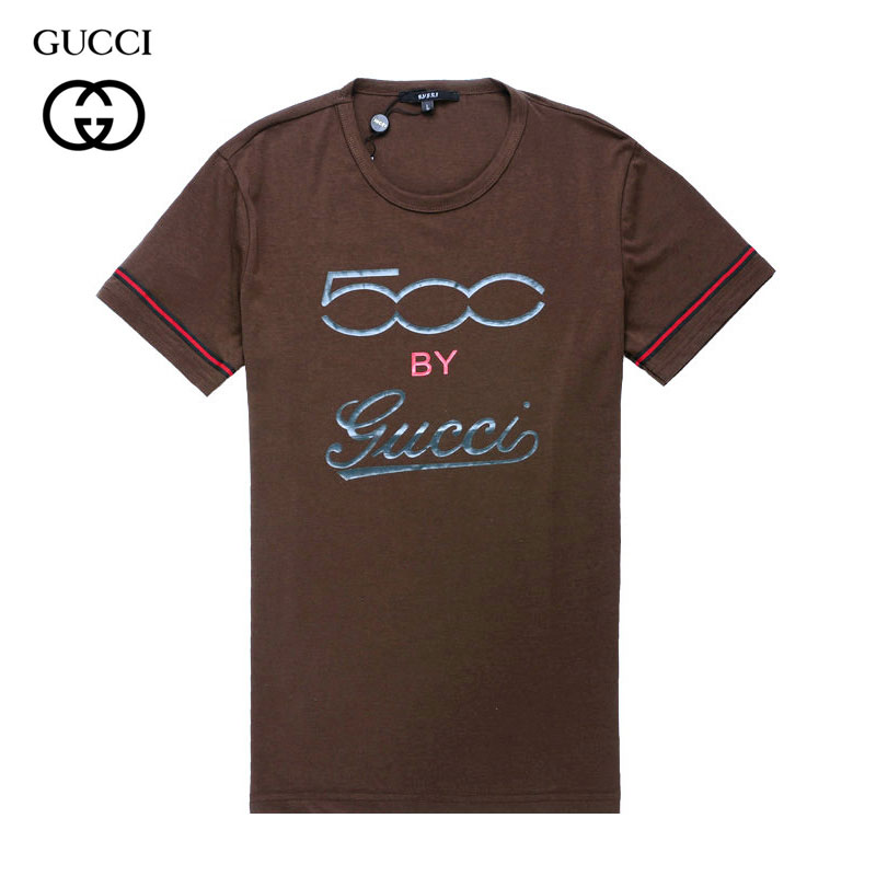 2012 Tee Shirt Gucci Homme Logo Manches Courte Col Rond Marron